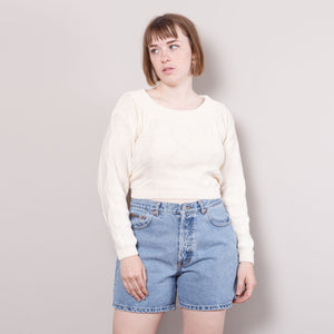 Open Back 80s Cropped Sweater