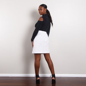 White High Waisted Pencil Skirt