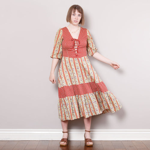 70s Boho Patterned Dress