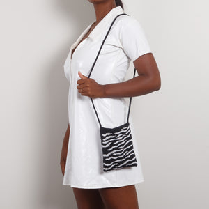 Zebra Print Beaded Shoulder Bag