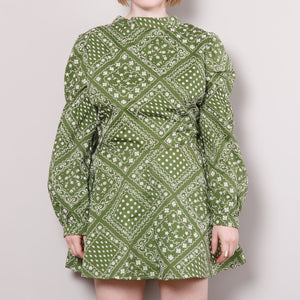 60s Mod Green High Mock Neck Dress