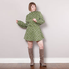 Load image into Gallery viewer, 60s Mod Green High Mock Neck Dress