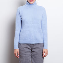 Load image into Gallery viewer, 100% Cashmere Blue Turtleneck
