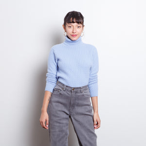 100% Cashmere Blue Turtleneck