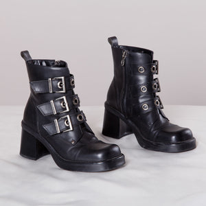 Chunky Harley Davidson Booties in Black