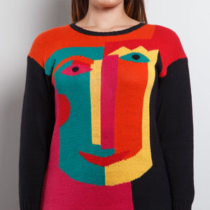 Abstract 90s Face Sweater Dress