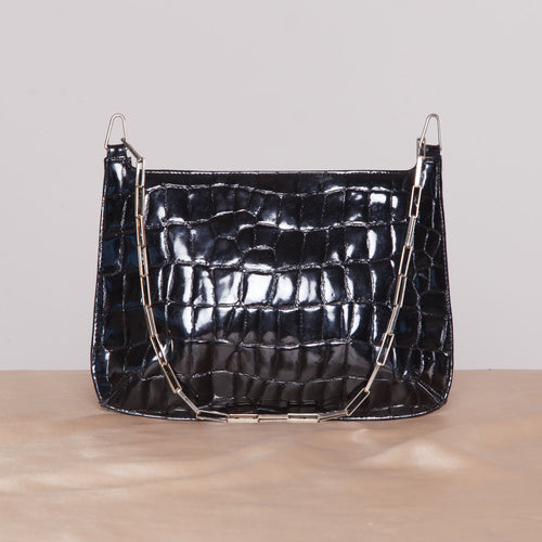 2000s Black Bebe Purse with Silver Chain