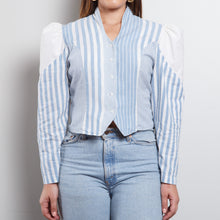 Load image into Gallery viewer, Puffy Striped Blue Top