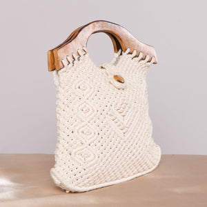 Vintage Macramé Purse with Wood Handle