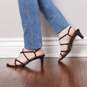 90s Strappy Black Low Heel
