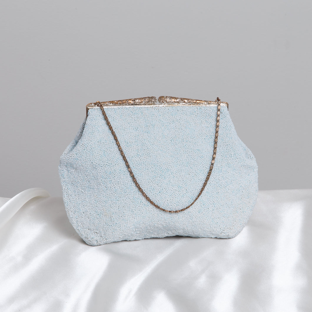 Blue Beaded Evening Purse