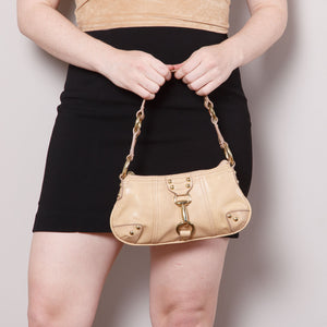 Y2K Tan Mini Purse with Gold Buckles