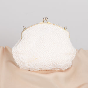 White Beaded Teardrop Clutch