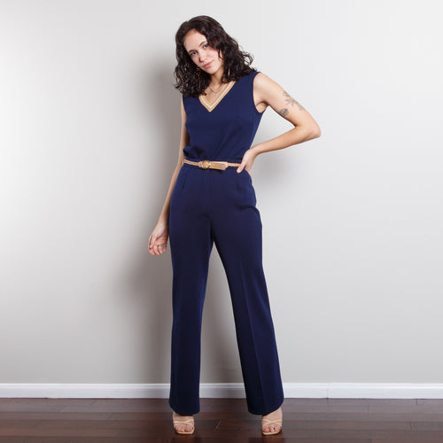 Two Piece 70s Blue Jumpsuit