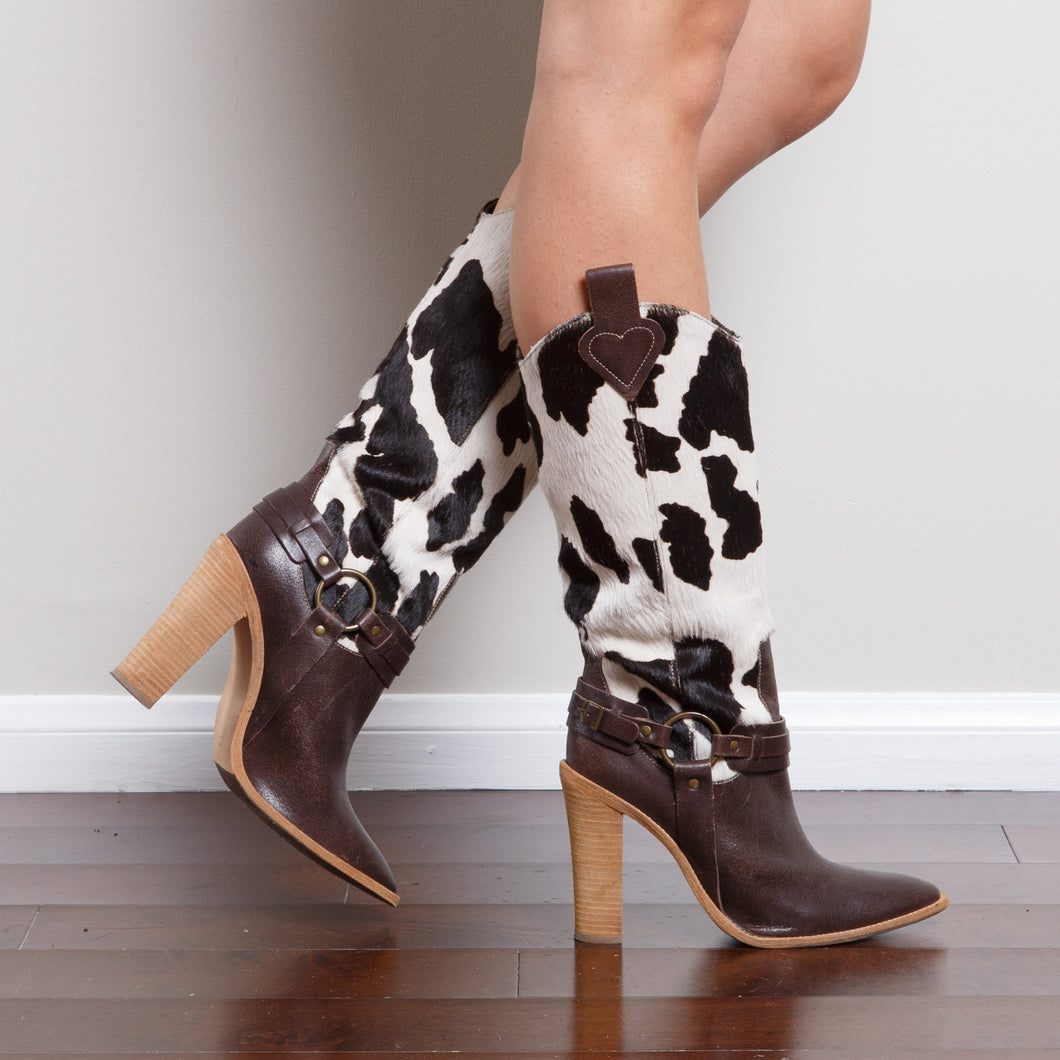 Cowhide High Heel Boots