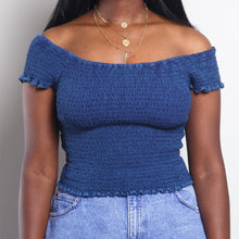Load image into Gallery viewer, Smocked Off The Shoulder Blue Top