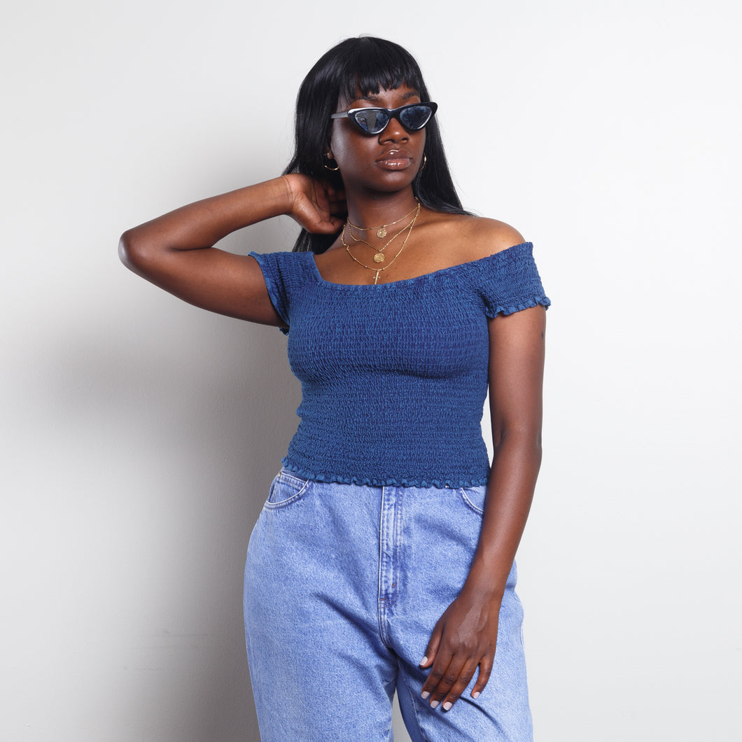 Smocked Off The Shoulder Blue Top