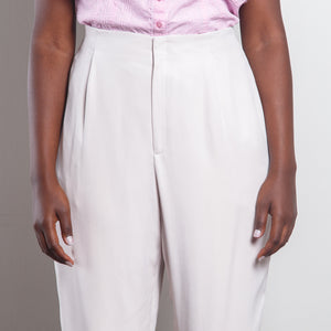 100% Silk High Waisted Off White Trousers