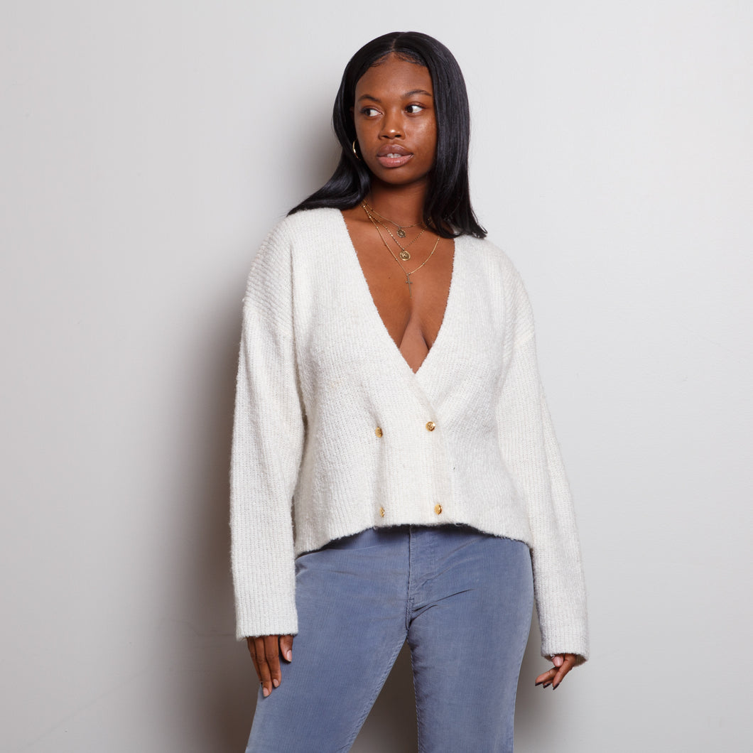 80s Cropped White Sweater