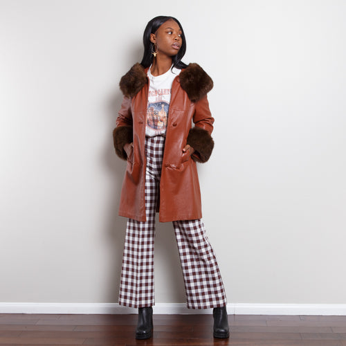 Vintage Leather Parka with Fur Lining