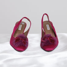 Load image into Gallery viewer, Purple Pointed Slingbacks
