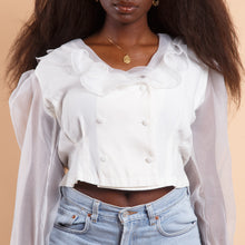 Load image into Gallery viewer, White Peasant Blouse with Puff Sleeves