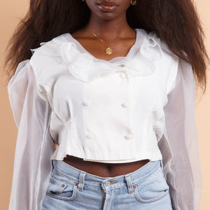 White Peasant Blouse with Puff Sleeves