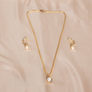 Gold and Pearl Earring and Necklace Set