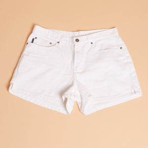 High Waisted White Denim Shorts