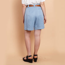 Load image into Gallery viewer, High Waisted Blue Paperbag Shorts