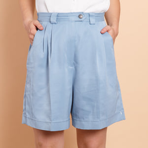 High Waisted Blue Paperbag Shorts