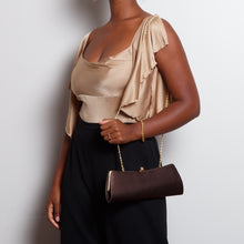 Load image into Gallery viewer, Brown Clutch with Gold Chain