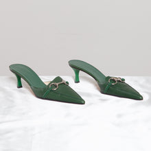 Load image into Gallery viewer, Gucci Green Kitten Heel Mules
