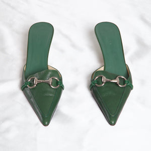 Gucci Green Kitten Heel Mules
