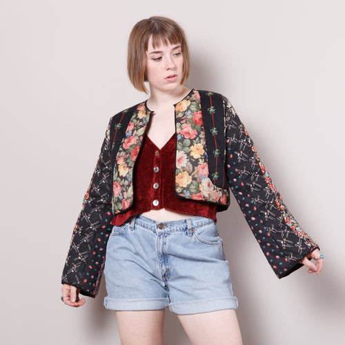 Vintage Quilted Cropped Blazer