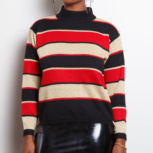 80s Warm Colors Turtleneck Sweater