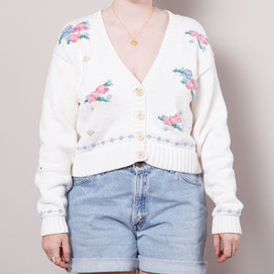 90s Cropped Floral Cardigan