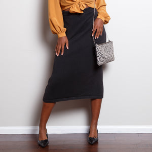 Knit Black 90s Midi Skirt