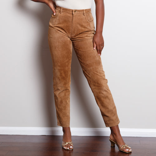 High Waisted Tan Leather Pants