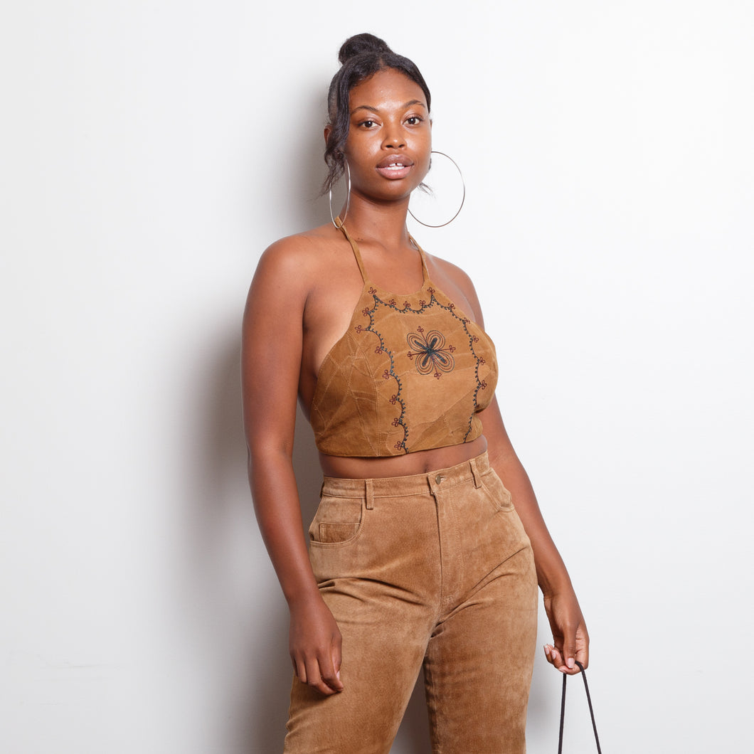 Leather Cropped Halter Top