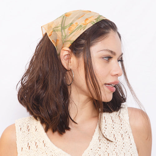 Sheer Orange Floral Bandana