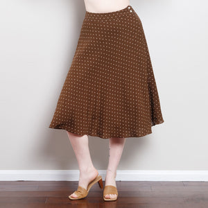 Silk 90s Midi Polka Dot Skirt