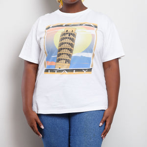 Single Stitch Leaning Tower of Pisa Graphic Tee