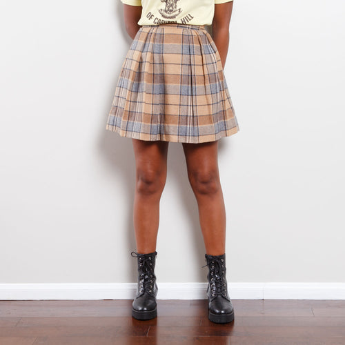 Vintage Beige Plaid Skirt