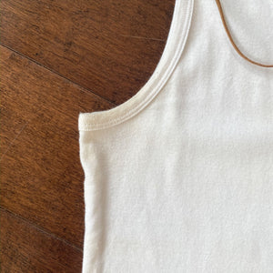 Vintage Lace Up White Tank