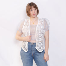 Load image into Gallery viewer, Vintage White Crochet Vest
