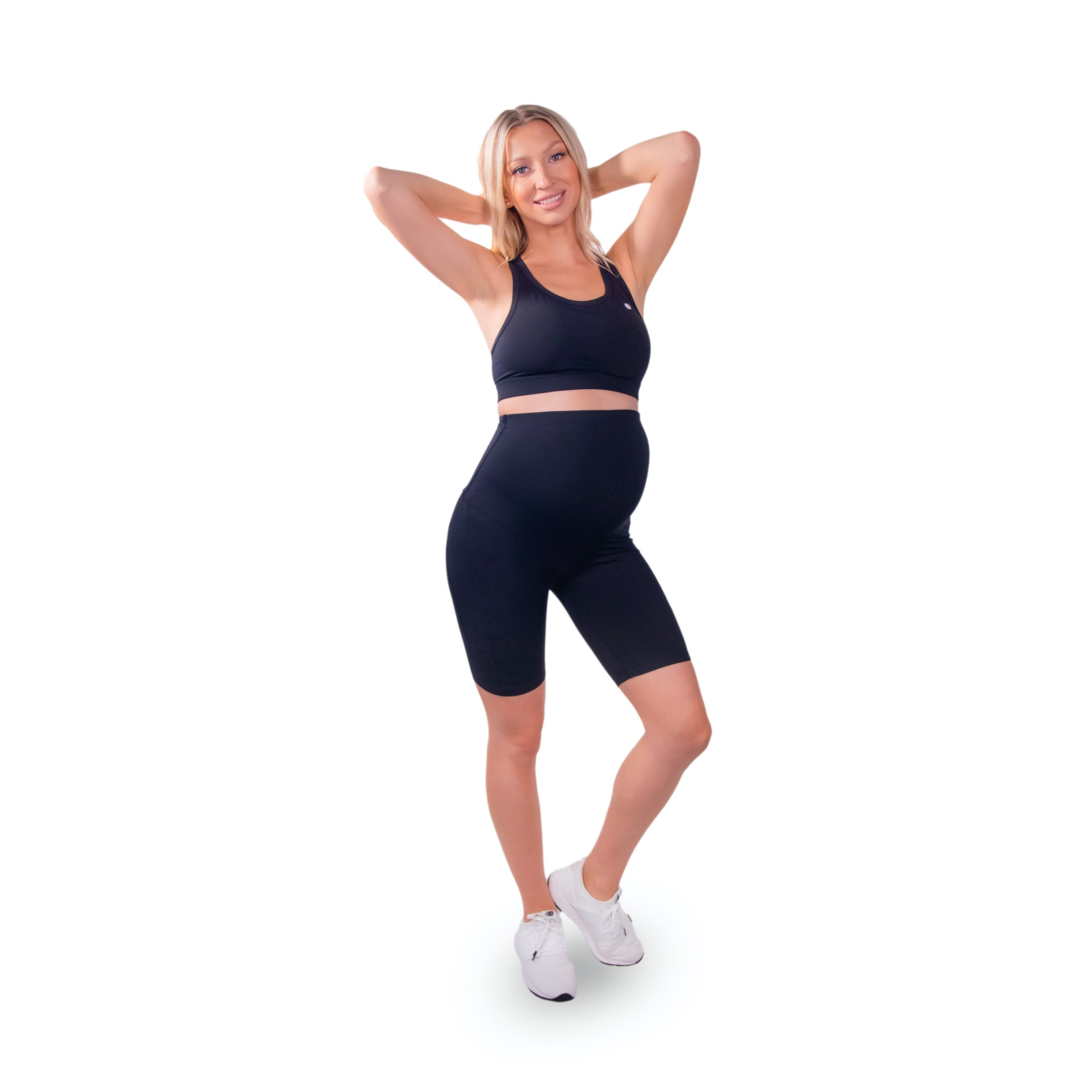 Comfy Maternity Over The Belly Shorts, Black
