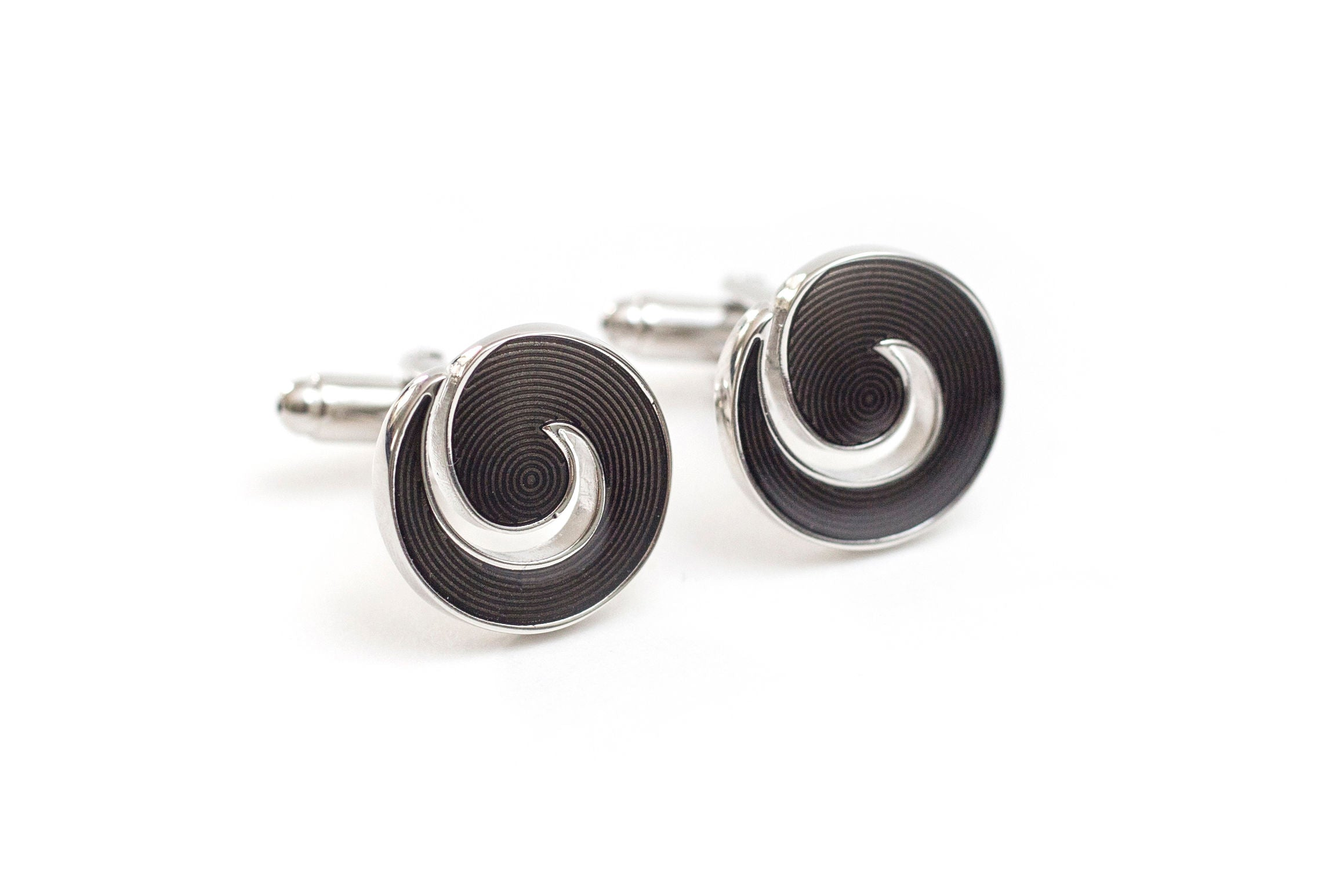 Black Cyclone Cuff Links