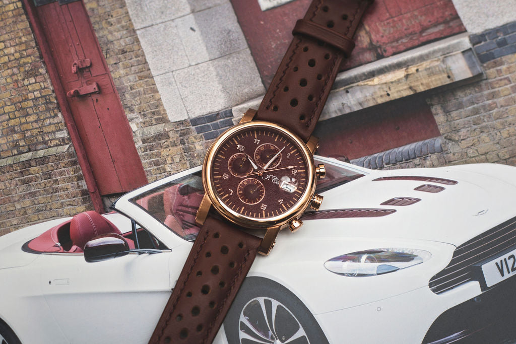 Brown Leather Rally Strap with Burgundy Accent Stitching