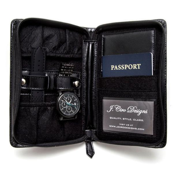 Leather Travel Watch Wallet - Black